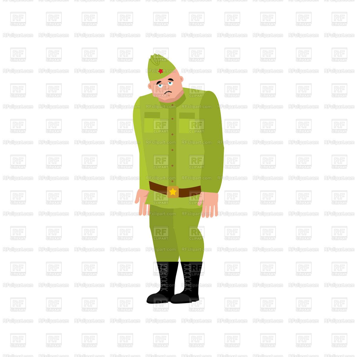 1200x1200 Soviet Soldier Sad Emotion Royalty Free Vector Clip Art Image