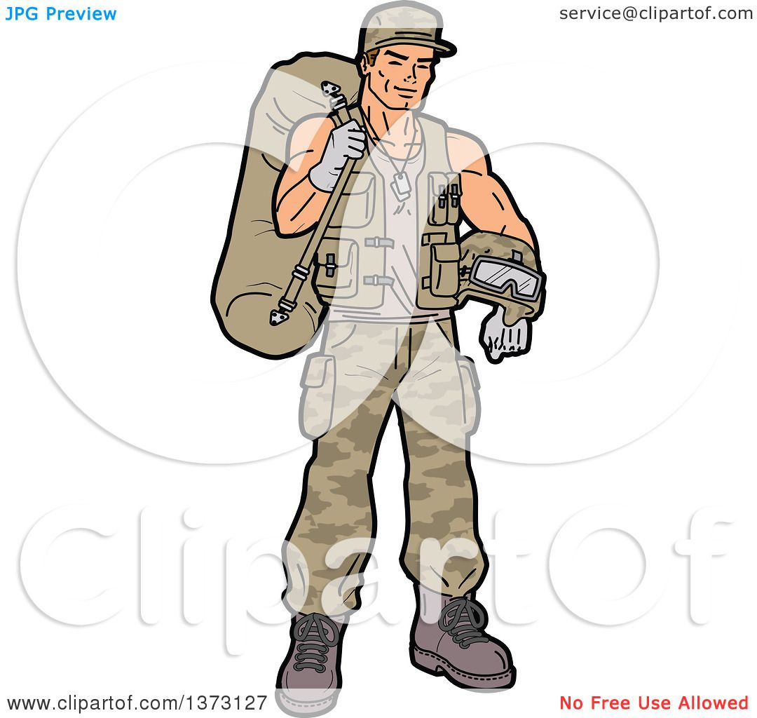 1080x1024 Clipart Of A Young White Male Soldier Carrying Gear