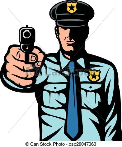 392x470 Policeman Pointing A Gun Clip Art Vector
