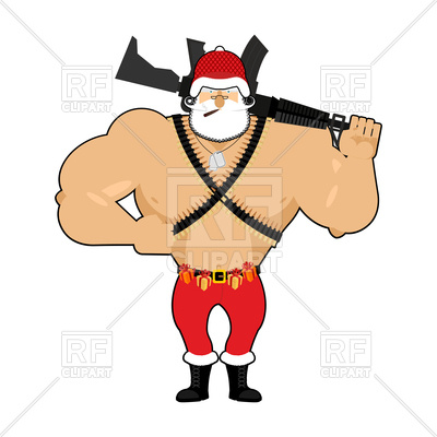400x400 Soldier Santa With Ammunition Royalty Free Vector Clip Art Image