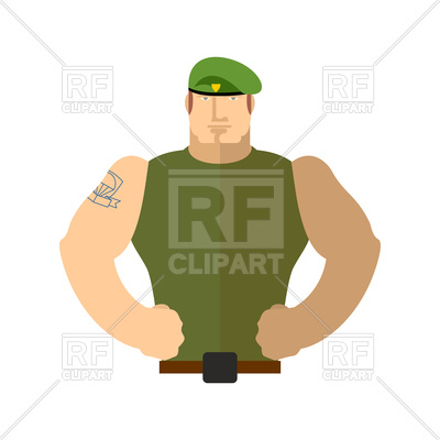 400x400 Soldier Portrait, Man In Military Green Beret Royalty Free Vector