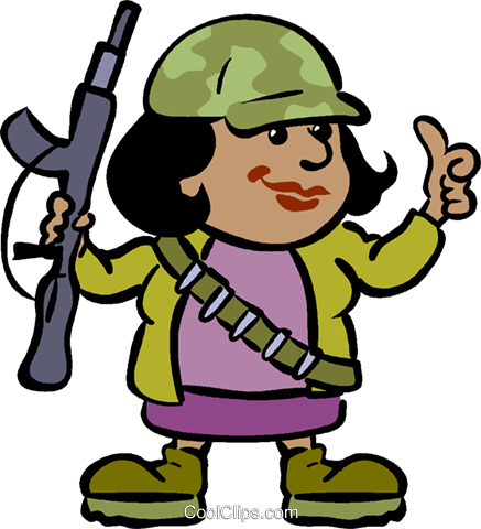 437x480 Female Soldier With A Gun Royalty Free Vector Clip Art