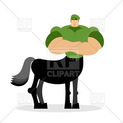 400x400 Centaur Soldier In Green Beret Royalty Free Vector Clip Art Image