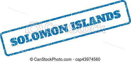 450x213 Solomon Islands Rubber Stamp. Blue Rubber Seal Stamp With Clip