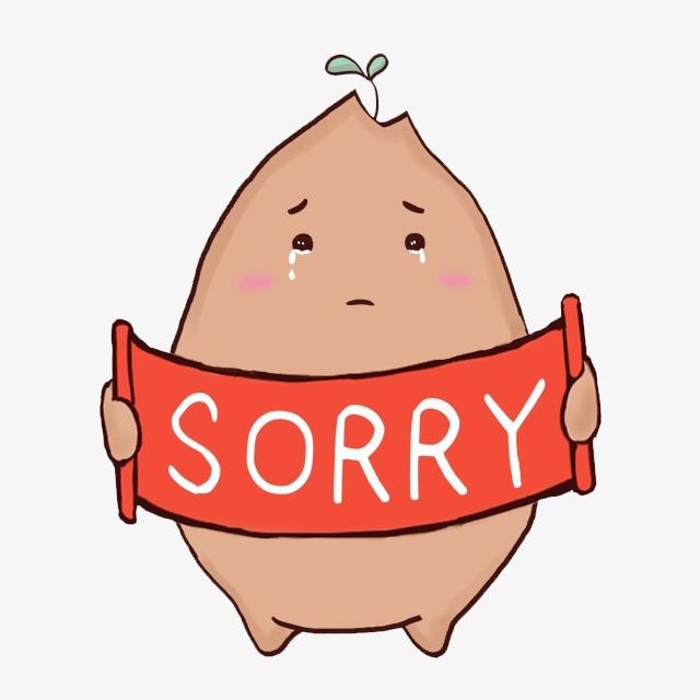 640x640 Sorry Cartoon Potatoes, Cartoon, Potato, I Am Sorry Png Image