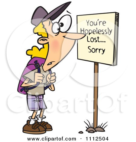 450x470 Clipart Hiker At A Youre Hopelessly Lost Sorry Sign