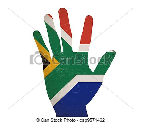 450x395 Low Key Picture Of A Fist Painted In Colors Of South Africa
