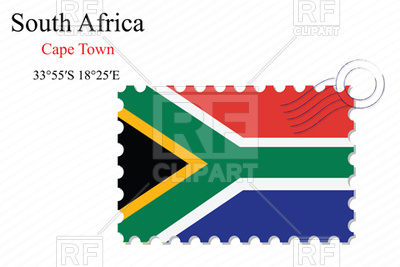 400x267 Postage Stamp With Flag Of South Africa Royalty Free Vector Clip