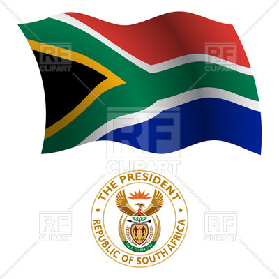 400x400 South Africa Flag And Coat Of Arms Royalty Free Vector Clip Art