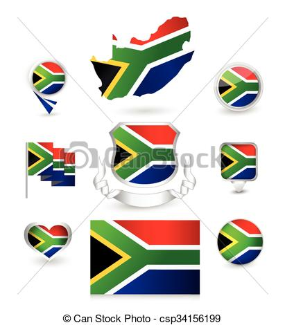 411x470 South Africa Republic Flag Collection. Vector Icon Set. Eps