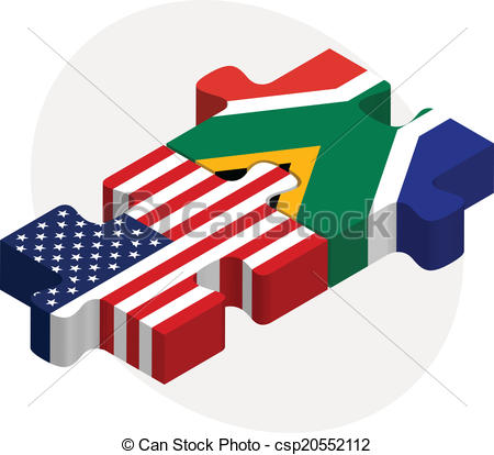 450x414 Vector Illustration Of Usa And South Africa Flags In Puzzle