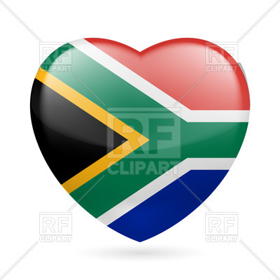 400x400 I Love South Africa. Heart With Flag Colors Royalty Free Vector