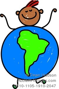 200x300 Clipart Image Of A Happy Little Boy Dressed Up As A Globe Of South