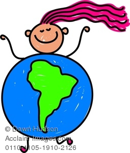 255x300 Clipart Image A Happy Little Girl Dressed Up As A Globe