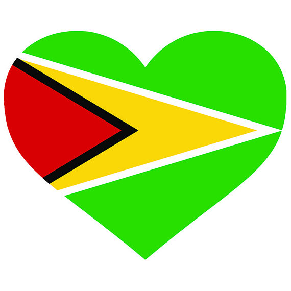 570x570 Guyana Heart Shaped Flag Guyanese South America Country World