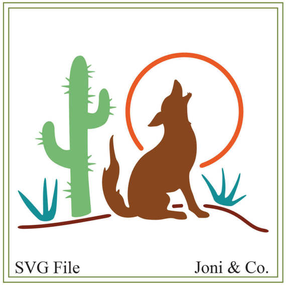 570x568 Southwest Coyote Svg. Coyote Svg Vinyl Cutting Wall Art