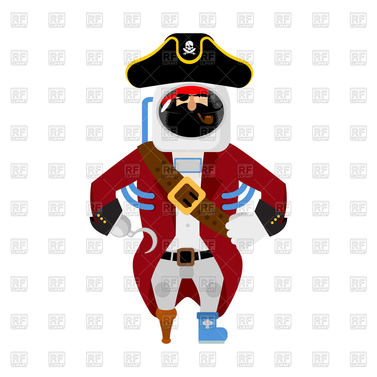 1200x1200 Space Pirate Concept Royalty Free Vector Clip Art Image