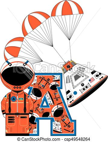 358x470 A Is For Astronaut. Cute Cartoon Spaceman And Space Capsule