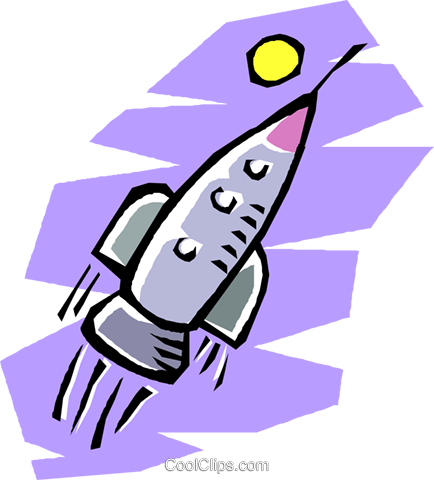 434x480 Rocket Ship Flying Through Outer Space Royalty Free Vector Clip
