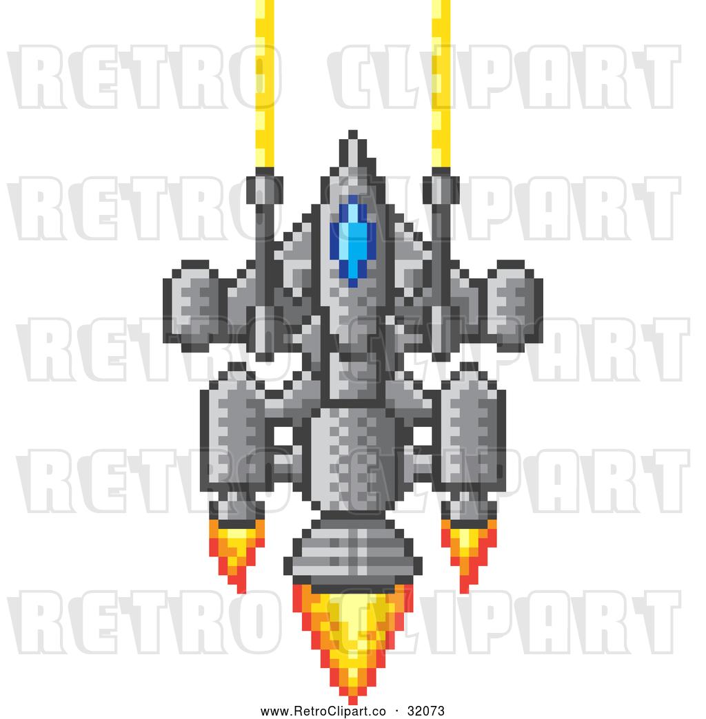 1024x1044 Vector Clip Art Of A Pixelized Retro 8 Bit Spaceship Shooting