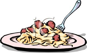 300x183 A Plate Of Spaghetti And Meatballs Clip Art Image