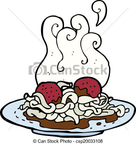 444x470 Cartoon Spaghetti And Meatballs Vector Clipart
