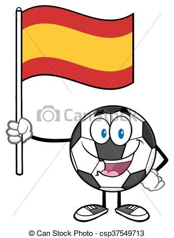 343x470 Ball Holding A Flag Of Spain. Happy Soccer Ball Cartoon Vector