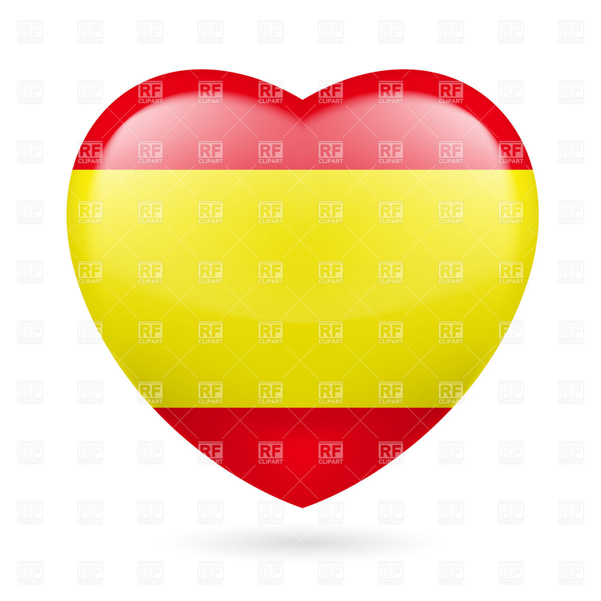1200x1200 Heart With Spanish Flag Colors. I Love Spain Vector Image Vector