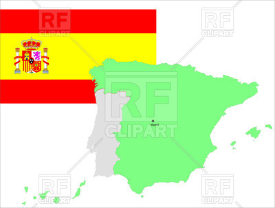 400x303 Spanish Flag And Contour Of Map Of Spain Royalty Free Vector Clip