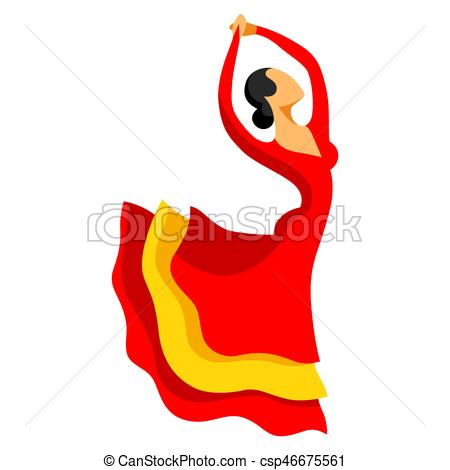 450x470 Traditional Spanish Flamenco. Woman In Red Dress Is Dancing. Clip