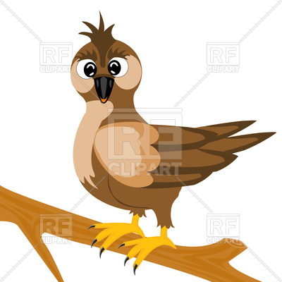 400x400 Sparrow On Tree Branch Royalty Free Vector Clip Art Image
