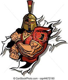 236x276 Royalty Free Clip Art Vector Logo Of A Spartan Warrior Stabbing