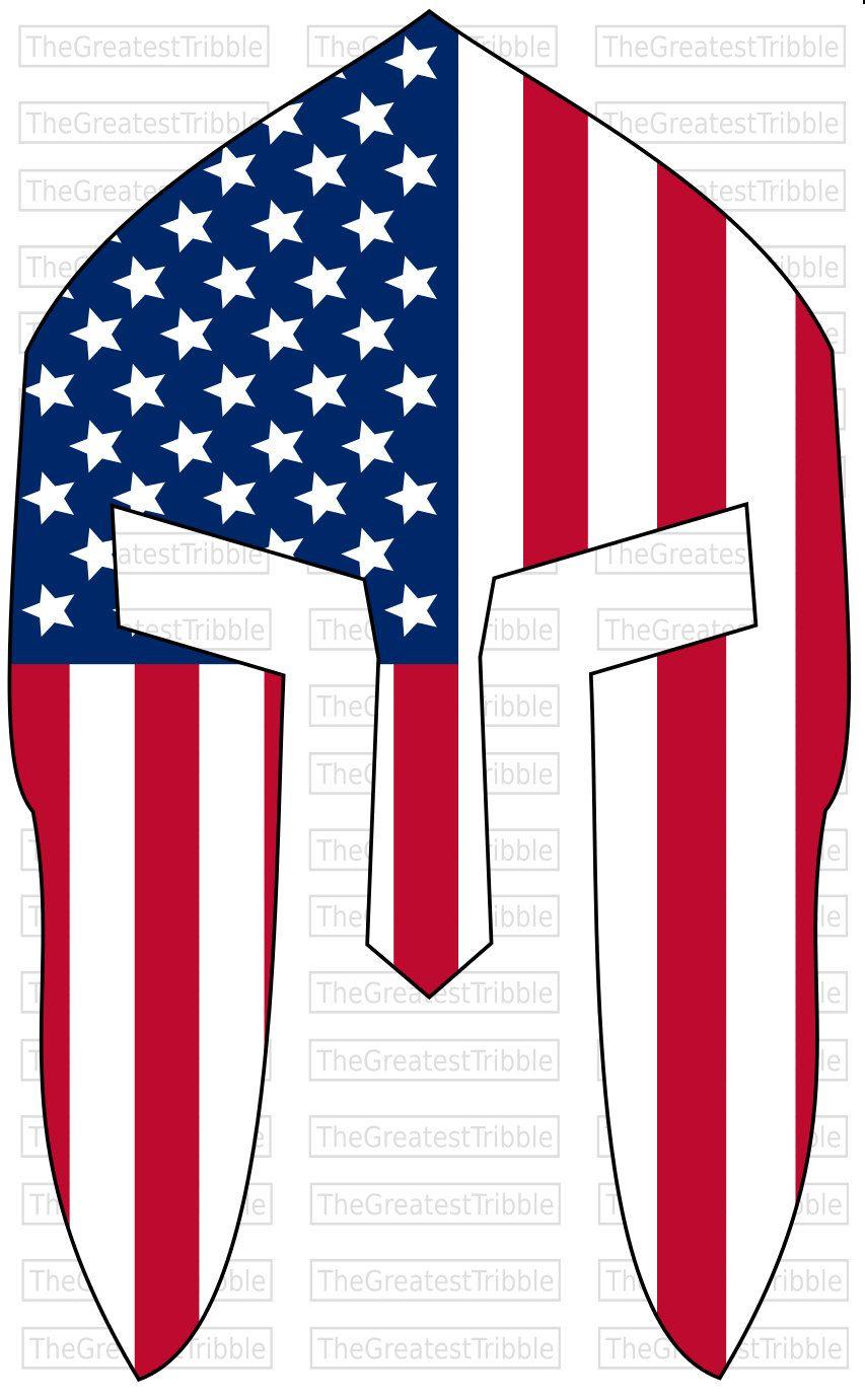 853x1381 Spartan Helmet Front Usa Flag American Flag Svg Png Jpg Vector
