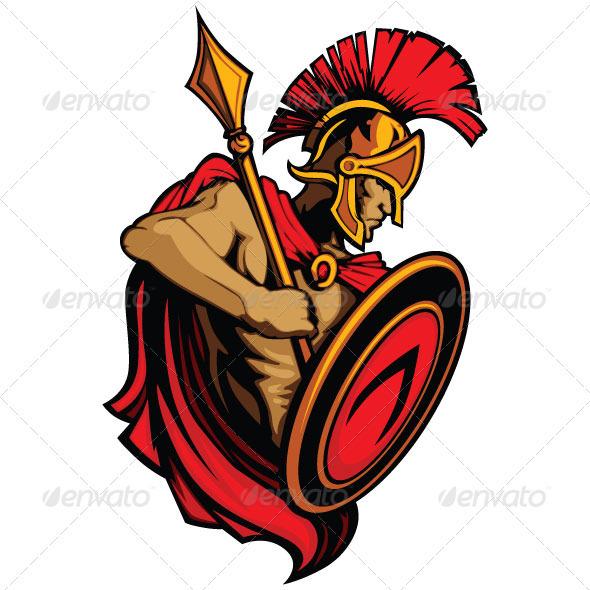 590x590 Spartan Trojan Vector Mascot With Spear Shield Logos