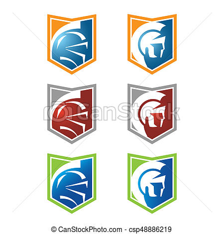 450x470 Spartan Head Logo With Variety Color Clipart