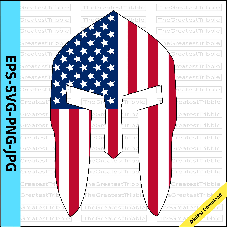 3000x2997 Spartan Helmet Front Usa Flag American Flag Eps Svg Png Jpg Vector
