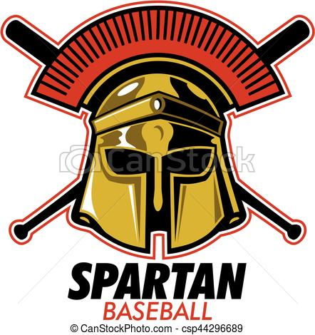 442x470 Spartan Baseball Team Design With Mascot Helmet And Crossed