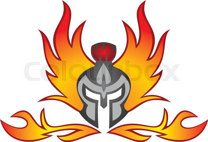 800x545 Spartan Helmet Flaming Burn Stock Vector Colourbox