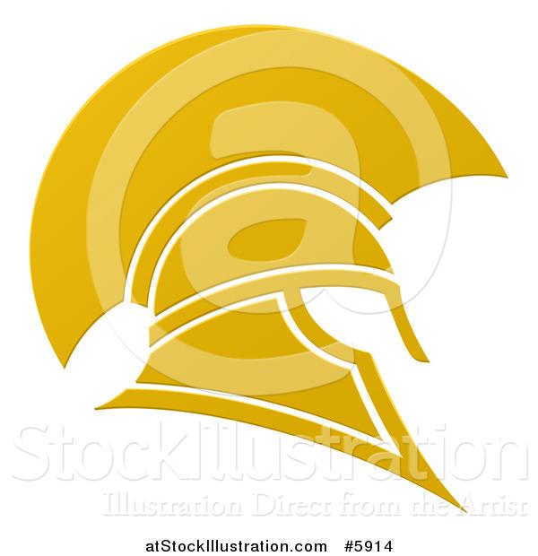 600x620 Vector Illustration Of A Golden Spartan Trojan Helmet By