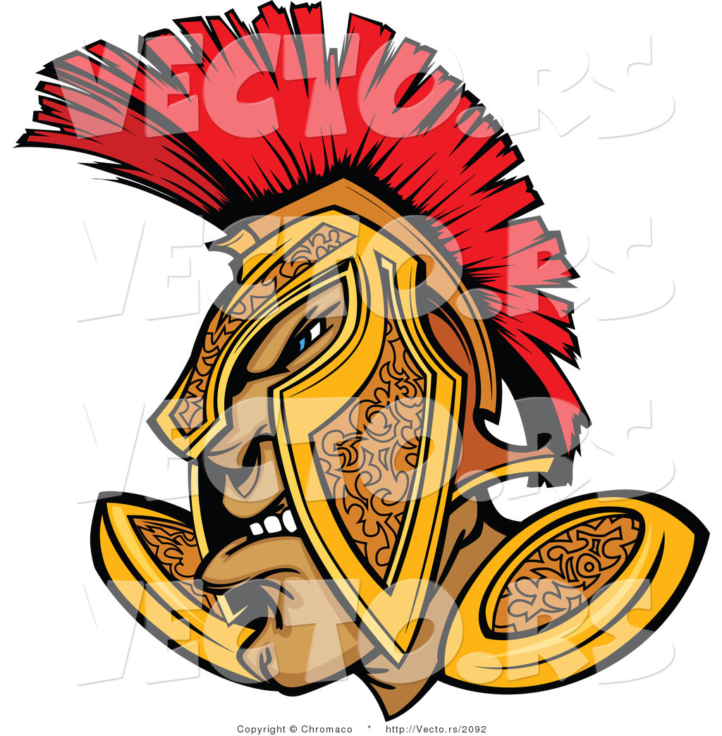 1024x1044 Vector Of A Defensive Cartoon Spartan Warrior Wearing Gold And Red
