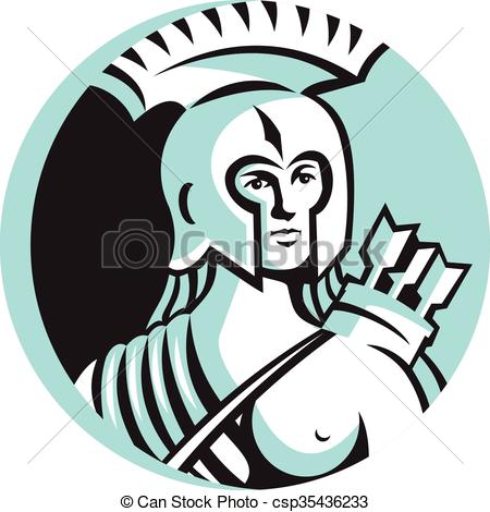 450x470 Female Spartan Warrior Circle Retro. Illustration Of A Bust