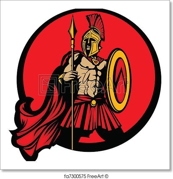 561x581 Free Art Print Of Greek Spartan Trojan Vector Mascot Greek