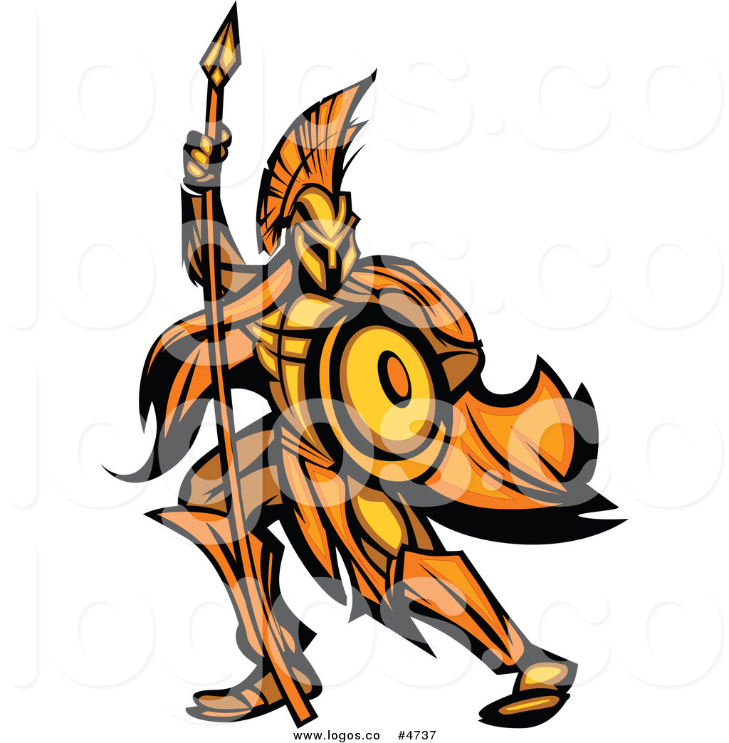 1024x1044 Royalty Free Vector Logo Of A Gold And Orange Spartan Warrior