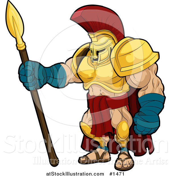 600x620 Vector Illustration Of A Muscular Spartan Or Trojan Gladiator