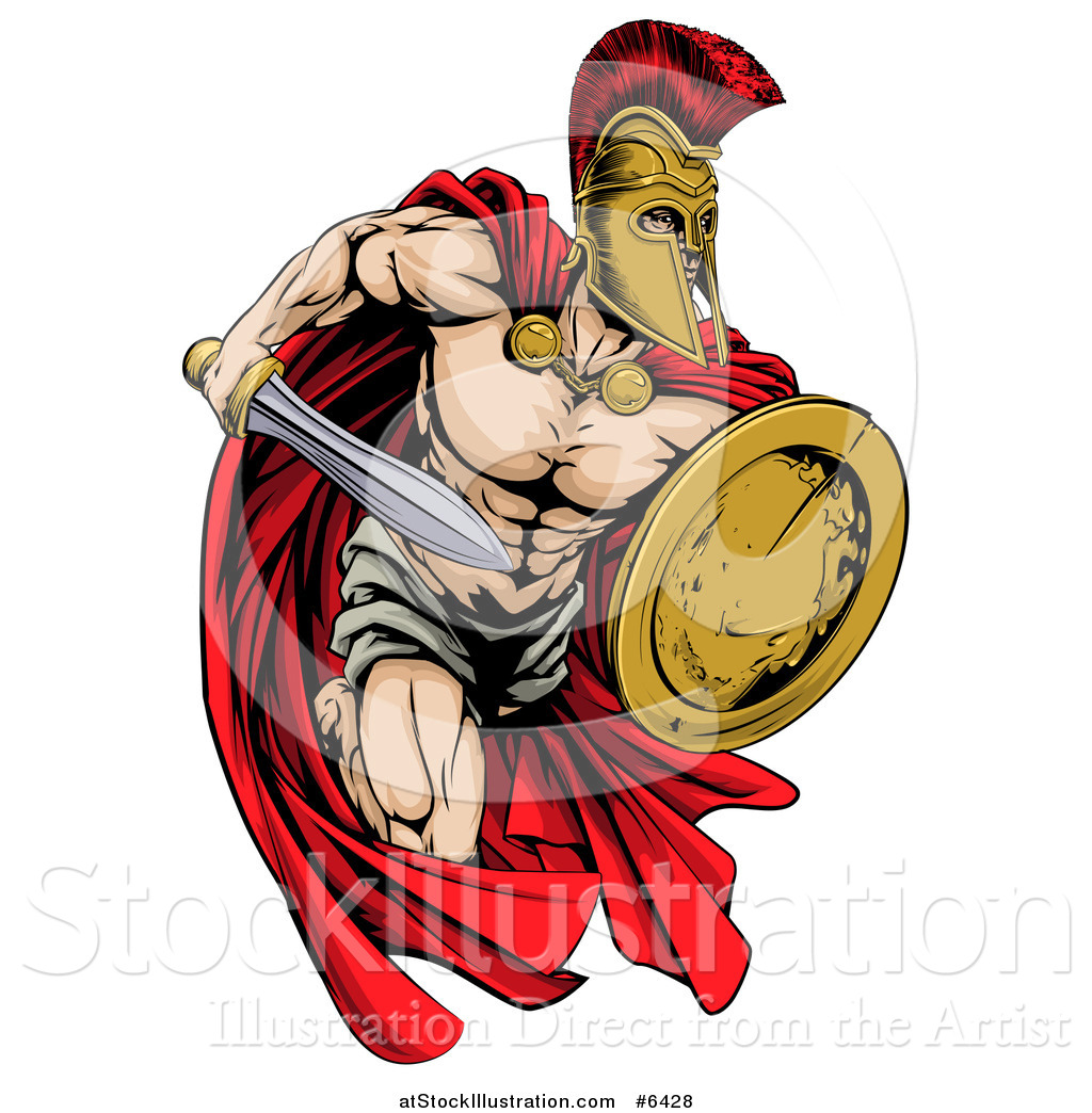 1024x1044 Vector Illustration Of A Strong Spartan Trojan Warrior Mascot