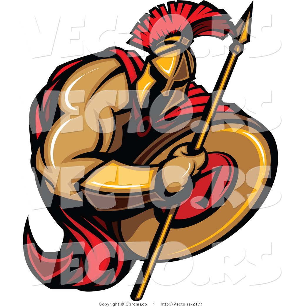 1024x1044 Vector Of A Cartoon Spartan Warrior Holding Spear And Shield