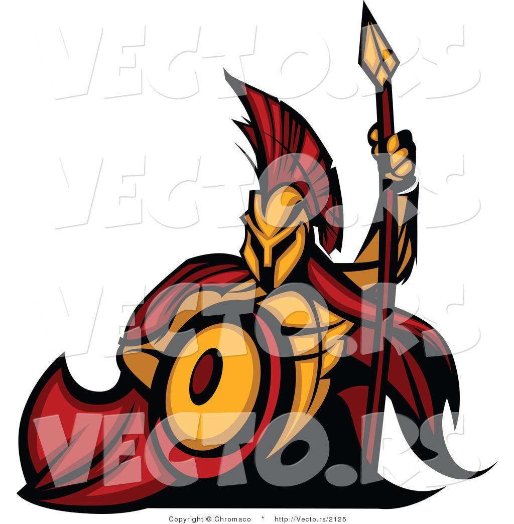 1024x1044 Vector Of A Cartoon Spartan Warrior Mascot Armed With A Spear