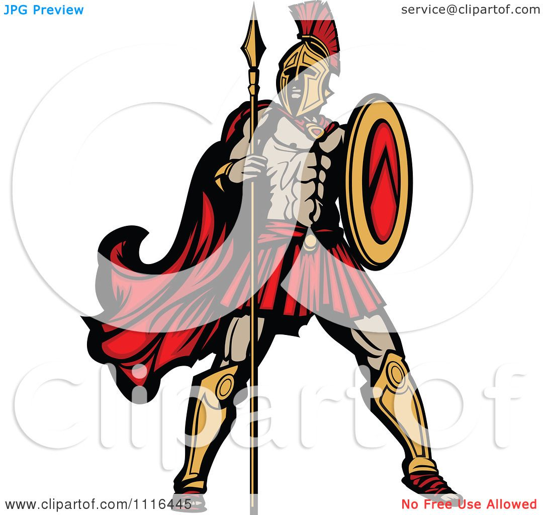1080x1024 Clipart Muscular Spartan Warrior With A Spear And Shield