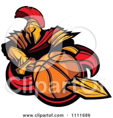 450x470 Clipart Spartan Warrior Mascot Stabbing A Basketball With His
