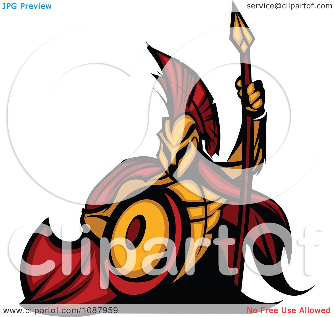 1080x1024 Clipart Spartan Warrior Mascot With A Cape Shield And Spear